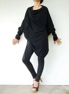 NO.59   Black Cotton-Blend Batwing Tunic Loose Asymmetrical  Sweater 33,11€