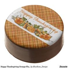 Shop Happy Thanksgiving Orange Plaid Oreo Cookies created by BlueRose_Design. Oreo Cookies, Chocolate Cookies, Chocolate Dipped Oreos, Oreo Pops, Thanksgiving Treats, Cookie Gifts, Confectionery, Corn Syrup, Safe Food