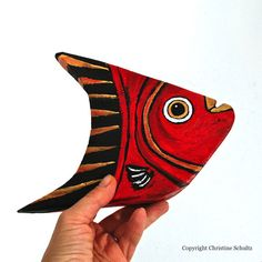 Painted Wood Folk Art Fish by TaylorArts on Etsy, $60.00