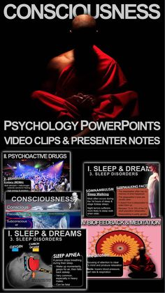 Consciousness Psychology PowerPoint is a great resource to add to your psychology curriculum. This 37 slide PowerPoint is packed with beautiful graphics, engaging video clips and presenter notes that aid your understanding of each slide. I have used these with my A.P. classes as well as regular psychology classes.