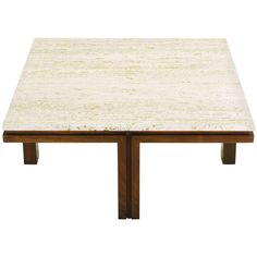 Walnut and Travertine Square Coffee Table with Offset Legs | From a unique collection of antique and modern coffee and cocktail tables at https://www.1stdibs.com/furniture/tables/coffee-tables-cocktail-tables/