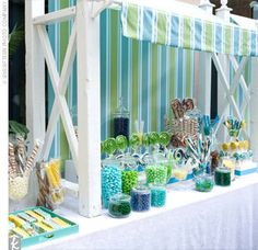 Blue green and turquoise candy buffet..put candy in large shells for ocean theme