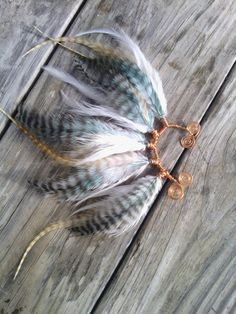 Feather Ear cuff turquoise feather ear cuff by dieselboutique