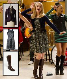 Quinns's sequinned dress with navy cardigan and brown boots on Glee. Dress by Rebecca Taylor Glee Fashion, Fashion Outfits, Trendy Dresses, Nice Dresses, Tv Show Outfits, Movie Outfits, Dress Outfits, Cute Outfits, Quinn Fabray