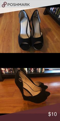 Wedges Wore them once. Cleaning out closet so getting rid of a few items. Cleaning Out Closet, Wedge Shoes, Rid, Peep Toe, Shop My, Wedges, Best Deals, Heels, Womens Fashion