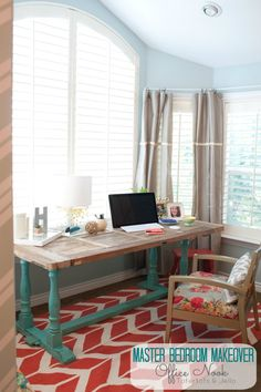 Master bedroom makeover - Office Nook…. use old door I have and put glass on top