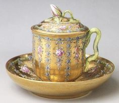 Covered cup and saucer made for Empress Elizabeth Petrovna.   c. 1760