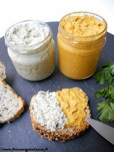 Sunflower seed spreads (vegan, vegan) - Vegan France - Vegan spreads: garlic and herbs and carrot / cumin - High Protein Recipes, Protein Foods, Raw Food Recipes, Veggie Recipes, Vegetarian Recipes, Healthy Recipes, Brunch, Food And Drink, Nutrition