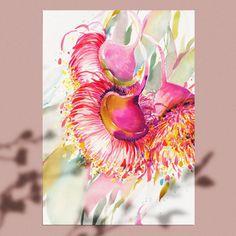 Watercolor Art Lessons, Watercolor Artwork, Watercolour Flowers, Watercolour Tutorials, Natalie Martin, Australian Native Flowers, Hummingbird Art, Limited Edition Prints, Flower Art