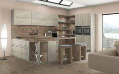 Combine melamine H1176 White Halifax Oak with the counter H1181 Natural Halifax Oak.