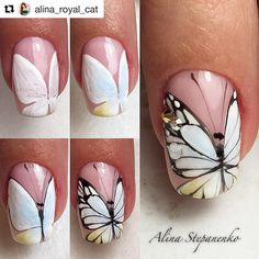 Butterfly Nail Art Butterfly Nail Drawing Butterfly on Nail Nail Art Summer 2017 Butterfly Nail Art Design Butterfly Spring Nail French Nail Butterfly Nail Art Design Manicure Butterfly Manicure Light Butterfly Nail Art Trendy Nail Art, Nail Art Diy, Diy Nails, Cute Nails, Cool Nail Art, Diy Art, Manicure Steps, Bling Nails, Butterfly Nail Designs