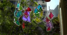 GLASS SHARDS CHIMES /WINDOW SHINE Som do Vento Artesanato com vidro (crafts with glass)