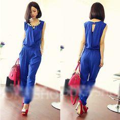 Fashion women's leotard sleeveless chiffon piece pants jumpsuit Girl's Playsuit
