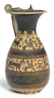 A CORINTHIAN BLACK-FIGURED OLPE  TRANSITIONAL STYLE, CIRCA 640-625 B.C  With details in red, decorated with two registers of animal and monster friezes, both with a swan flanked by recumbent sphinxes, a standing lion and panther at each end, the back of the lower register with a bull flanked by a standing lion and panther, dotted rosettes in the field, the registers divided by thick black bands with groups of fine red encircling bands, rays above the foot, cream-coloured rosettes around…