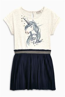 Navy Unicorn Print Dress (3-16yrs)