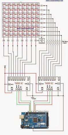 Method to Control 8*8 LED Matrix using Shift Register IC 74595 and Arduino Mega « Funny Electronics
