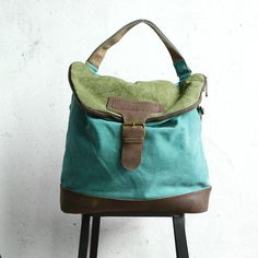 Women Canvas Casual Leather Green Backpack – Buykud