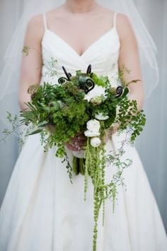 Amazing green local Northwest wedding flowers created by Flora Nova Design. Photos by Daniel Usenko--- This is perfect. I've found my bouquet. Fern Wedding, Forest Wedding, Woodland Wedding, Floral Wedding, Wedding Bouquets, Rustic Wedding, Wedding Flowers, Dream Wedding, Wedding Dresses