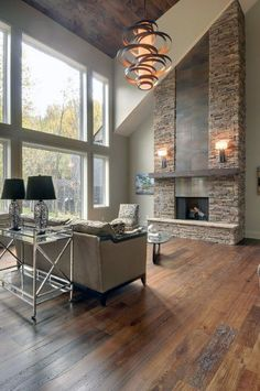 Ideas For Stacked Stone Fireplace Interior Designs Living Room