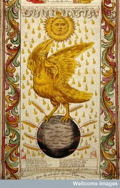 "Alchemical Emblems, Occult Diagrams, and Memory Arts: Ripley Scroll - Notice ""The next imagine in the series : the bird of Hermes who flew toward the chemical marriage. The bird reminded me of the illustration of the wedding from Ashmole 782"""