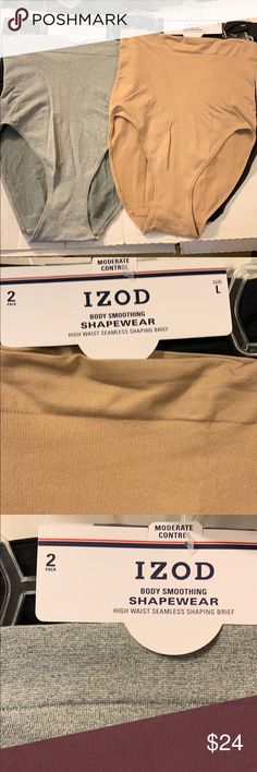 555135e14a IZOD Body Smoothing Shapers High Waist L XL IZOD High Waist Seamless Smoothing  Shaping Briefs 2