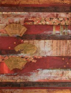 Washi Collage with Fans - Nerina Lascelles, 2009. collage, mixed media and encaustic wax on canvas