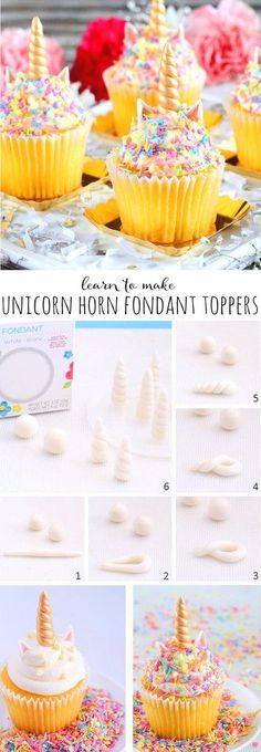 Learn how to make unicorn horn fondant toppers for magical cakes, cupcakes and more! - First Birthday Party Decor - meadoria Fondant Toppers, Cupcake Toppers, Cupcake Cakes, Fondant Cupcakes, Baking Cupcakes, Mini Cakes, Unicorn Birthday Parties, Birthday Cupcakes, Party Cupcakes