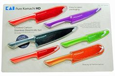 Pure Komachi HD  6 Coated Carbon Stainless Steel Knives with Matching Sheaths >>> This is an Amazon Affiliate link. See this great product.