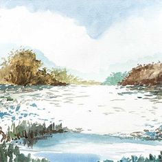 Beautiful short brush storkes compose this blue and neutral landscape. This piece has a mate. This series also looks nice with Farewell Travels I & II.