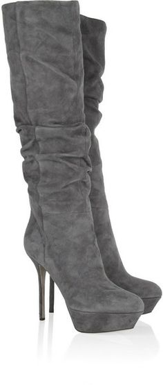 Sergio Rossi Gray Boudoir Ruched Suede Boots