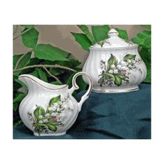 Lily of the Valley Fine Bone China - Sugar & Creamer Set - Covered Sugar Bowl http://www.englishteastore.com/fine-bone-china-sugar-creamer-lily-of-the-valley.html