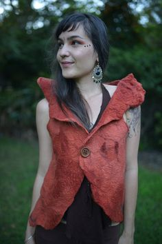 Nuno Felted Silk Hand Dyed Shadow Tree Collar Vest by frixiegirl