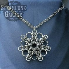 Dramatic Snowflake Chainmaille Pendant by SteamPunkGarage on Etsy, $185.00
