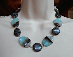 Sterling Banded Agate Necklace Opaline Sky Blue Southwestern