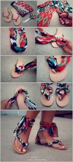 Make some clever, colorful sandals with leftover fabric.