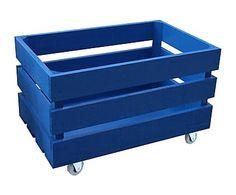 Caja grande de madera de pino con ruedas, azul - 30x50 cm