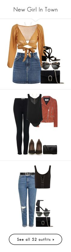 """""""New Girl In Town"""" by xoaninxo ❤ liked on Polyvore featuring Topshop, Gucci, Gianvito Rossi, Vince Camuto, Acne Studios, Raquel Allegra, Givenchy, Yves Saint Laurent, Alexander Wang and Ray-Ban"""
