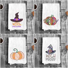 You can still enjoy Halloween, dress up your kitchen or treat a few of your friends with Halloween Flour Sack Tea Towels themed with witches, pumpkins and more.