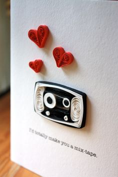 Mix Tape Quilled Greeting Card - I Love You - Cassette Tape - Unique Greeting Card