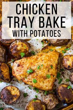 Quick 40 minute Chicken Tray Bake with Potatoes is the perfect sheet pan dinner recipe