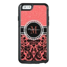 #name - #Girly coral red Damask Name or Monogrammed OtterBox iPhone 6/6s Case