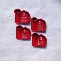 RED BARN Felt EMBELLISHMENT ~ Machine Embroidered Felt / Applique ~ Ready To Ship ~ Available Cut Or Uncut by CreationsByKG on Etsy