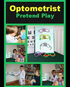 "<b>Optician's office</b><br> This family made their own optician's office, with glasses display case, eye charts and pipe-cleaner glasses - a great idea before getting your child's eyes checked. (found on <a href=""http://www.castleviewacademy.com/opticians-office-pretend-play/"">castleviewacademy.com</a>)"
