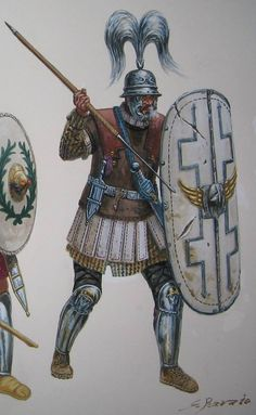 Roman centurion, Caesar's army, circa 58 B.C. ~ art by Giuseppe Rava
