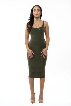 d8d35cd33a7f The mystylemode olive essential venezia double lined tank midi dress