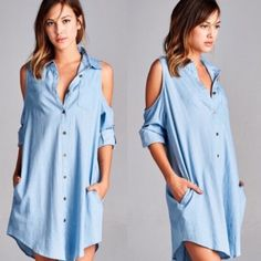 CARABELLE open shoulder denim shirt dress Solid, denim shirt dress featuring an open-shoulder design with button tabs and pockets. Unlined. Non-sheer. Lightweight. NO TRADE, PRICE FIRM Dresses