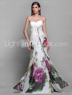 Sheath/Column Sweetheart Brush Train Chiffon Grace Evening Dress - USD $ 199.99