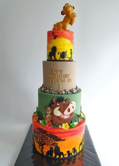 The Lion King cake Lion Birthday Party, Lion King Birthday, Baby Birthday Cakes, First Birthday Parties, Lion Guard Birthday Cake, Birthday Ideas, Disney Desserts, Disney Cakes, Lion King Theme
