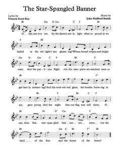 Free Sheet Music - Free Lead Sheet - The Star-Spangled Banner - by Francis Scott Key and John Stafford Smith Clarinet Sheet Music, Violin Music, Piano Sheet Music, Music Sheets, Gospel Music, Music Lyrics, Music Songs, Star Spangled Banner, Banner Musik