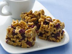 Banana Nut Cheerios Energy Bars - (No bake, w/ cranberries, peanut butter, sunflower seeds, and almonds)
